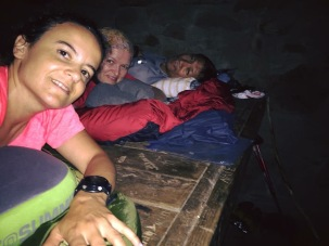 Sleeping in a shelter on the AT trail with friends