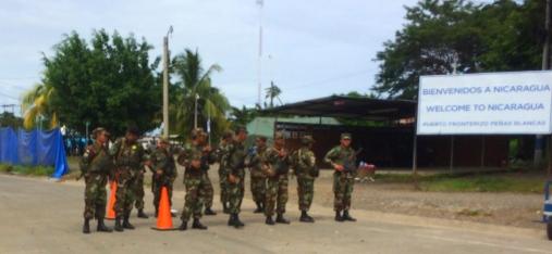 Police on the Nicaragua border