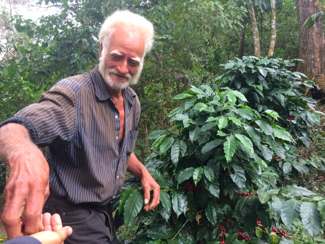 Alberto, some call crazy - we would say eccentric, offering us some coffee beans
