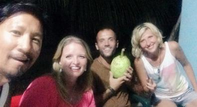 Trin, Bonnie, Omar, and Viky with a breadfruit