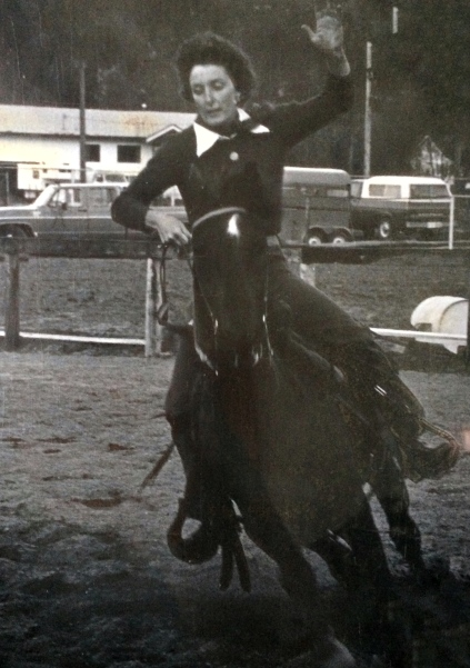 Margret, the wife of the Cowboy in Boquete, barrel racing
