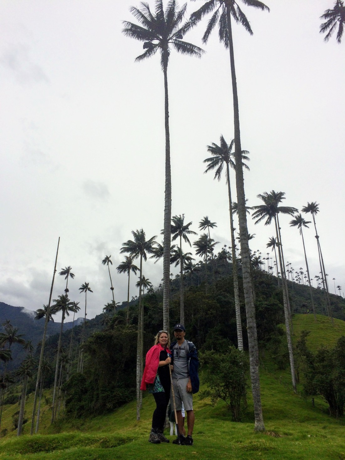 Bonnie and Trin in front of the Wax Palms of Cocora Valley in Beautiful Colombia